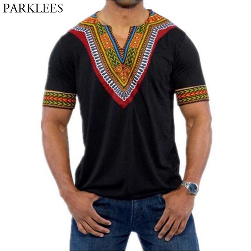 Fashion V Neck Short Sleeve T Shirt Men 2018 Brand New Africa Print Dashiki T-shirt Men Casual Hip Hop Tops Tees Africa Clothing