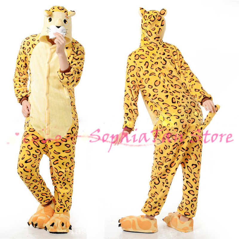 New Animals Leopard Tiger Onesie For Adult Women Men Unisex Flannel Cosplay Costume Pajamas For Halloween Christmas Dress Party