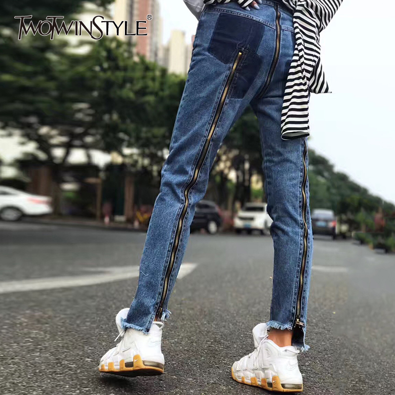 TWOTWINSTYLE Zipper   Jeans   For Women Patchwork High Waist Large Size Long Irregular Pants 2018 Female Spring Fashion Sexy Clothes
