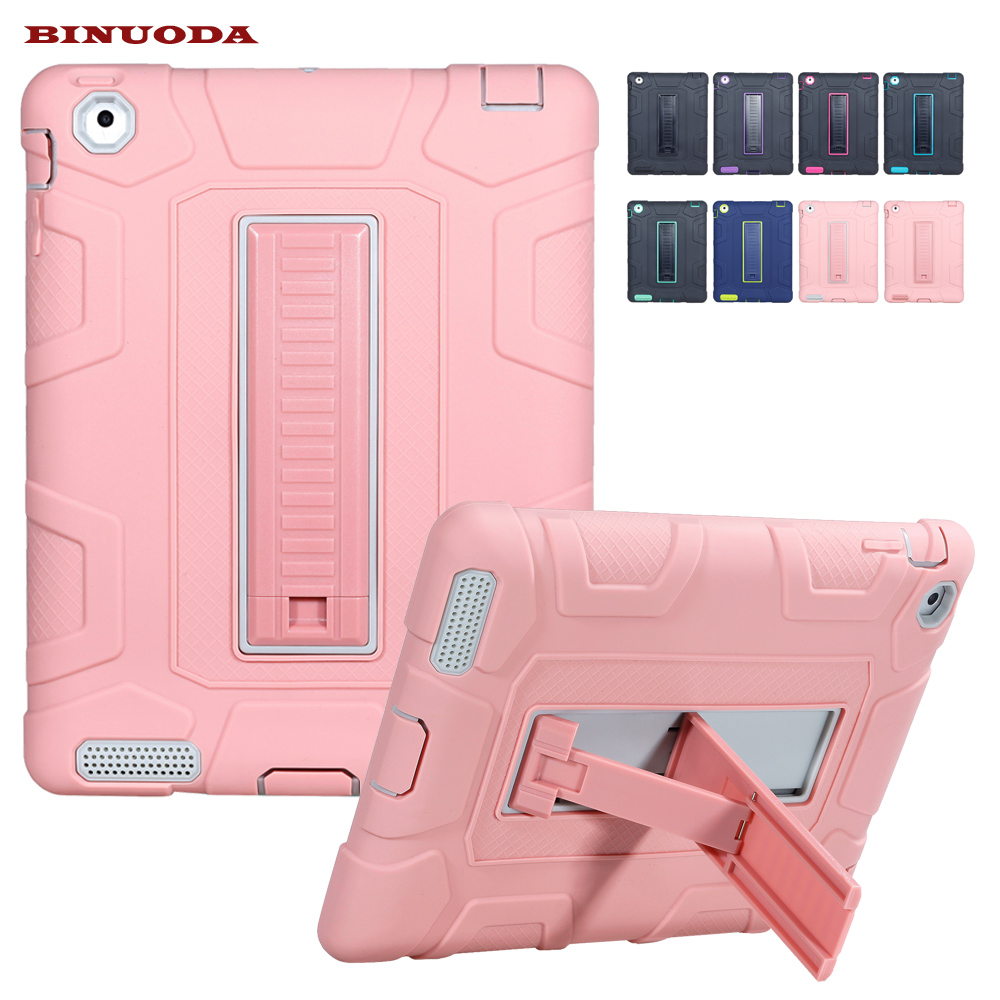 For iPad 2 3 4 Retina Kids Safe Armor Shockproof Heavy Duty Silicone Hard Case Cover For Apple iPad 4 3 2 with Stand Holder