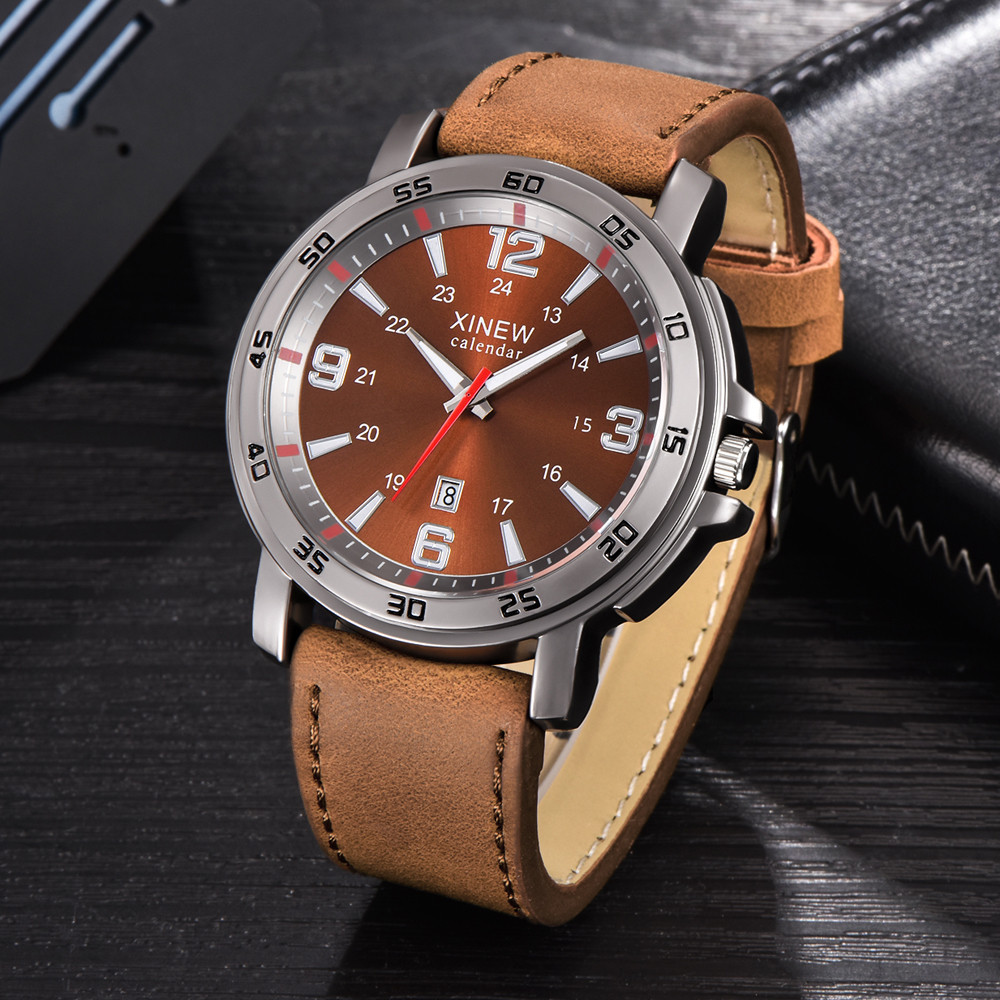 Man Watch 2019 Mens Watches Top Brand Luxury Quartz Watch Men Calendar Bussiness Leather Clock relogio masculino reloj hombre