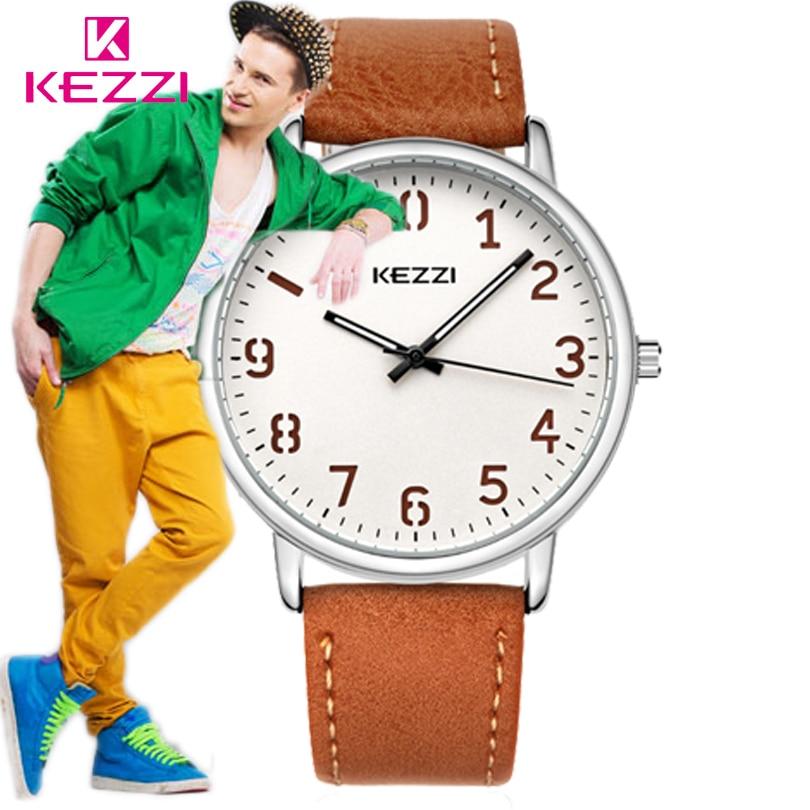 KEZZI Super slim Quartz Casual Wristwatch Man Business Brand Leather Analog Quartz Watch Men Fashion Watches 2017 relojes hombre