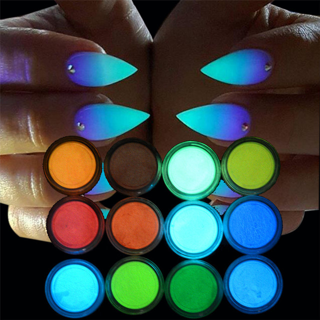 OutTop 12PCS Glow in The Dark Nail Powder Sand Fluorescent Luminous ...