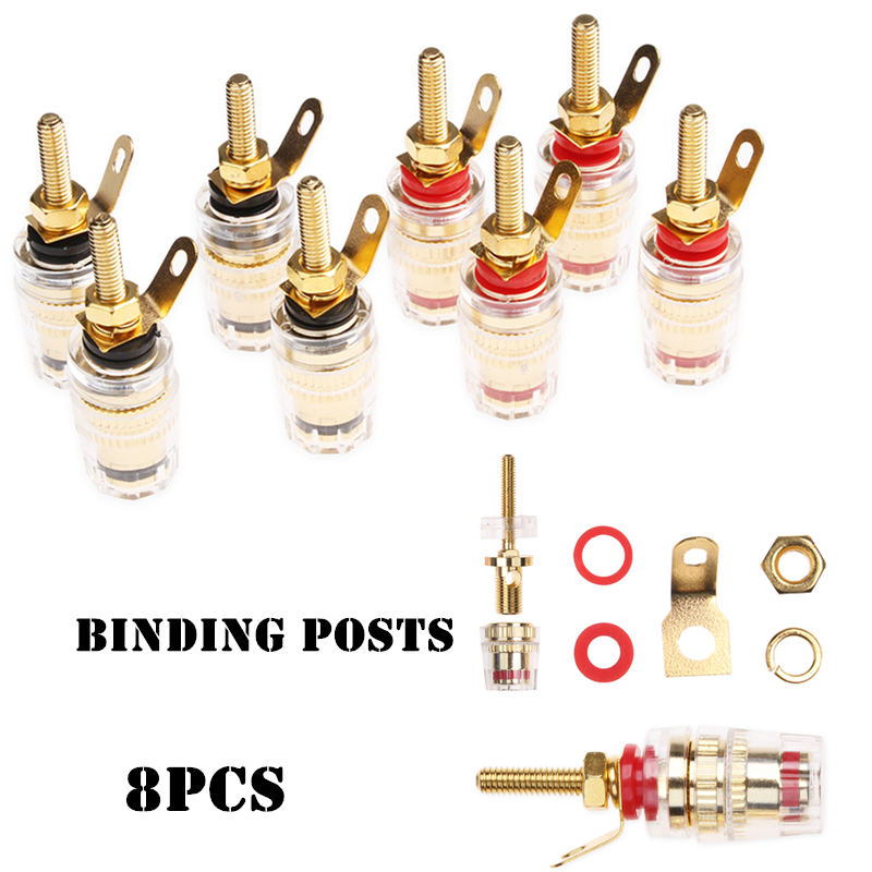 8PCS 4mm Plug with Transparent Covers Connectors Binding Post Banana Plugs for Amplifier Speaker Terminals High Quality 4pcs new 4mm plugs gold plated musical speaker cable wire pin banana plug connectors
