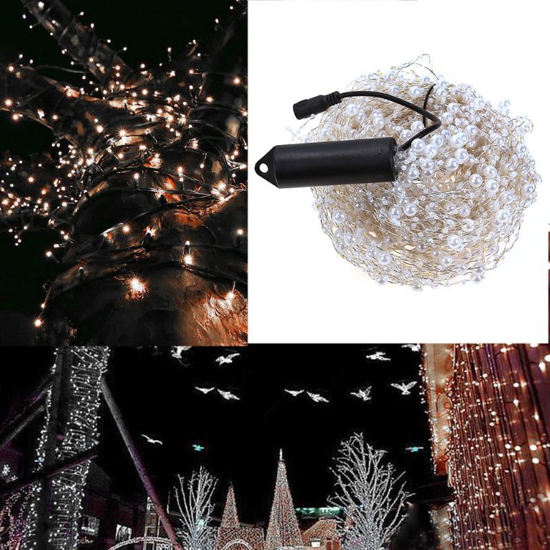 20pcs DC 12V 400LEDs Mini LED Silver Wire String Fairy Lights 2M White for Wedding Party Decor Christmas Holiday Decoration 20pcs mini pavilion lampshade string light