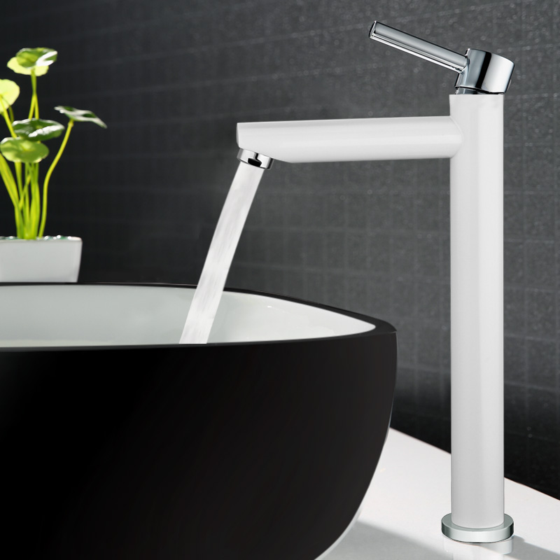 Basin faucet Hot and Cold Copper bathroom sink faucet tall chrome/black/white brass crane faucet Basin faucet Hot and Cold Copper bathroom sink faucet tall chrome/black/white brass crane faucet