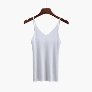 Image 5 - تيشيرت صيفي جذاب للنساء من bygoby Lurex برقبة على شكل حرف V بدون أكمام قميص منسوج ضيق للنساء