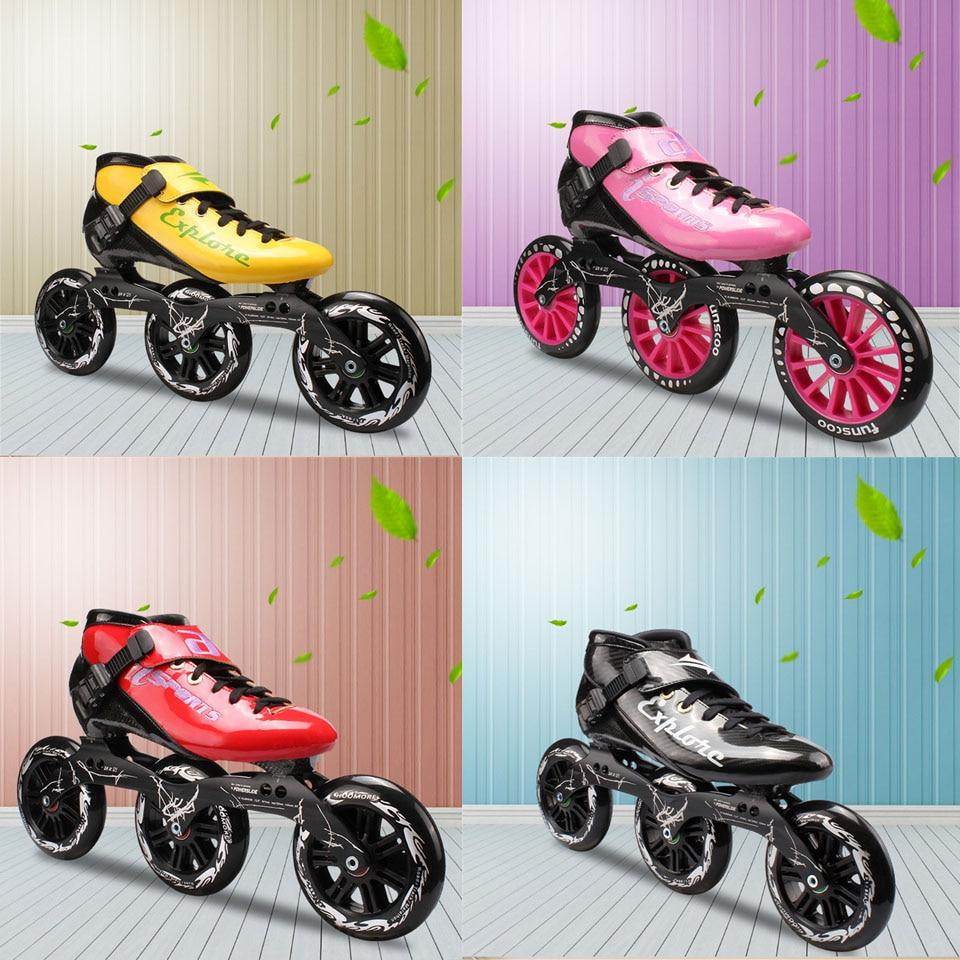 JEERKOOL professionnel patins de vitesse en ligne rouleau Fiber de carbone 125mm roues de patinage en ligne patins à roulettes pour enfants hommes adultes SH38