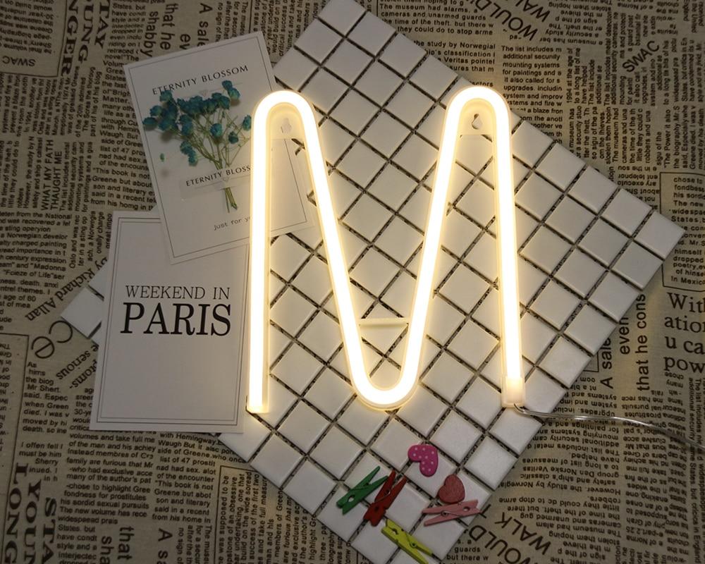 Neon alfabeto m lâmpada 26 letras led