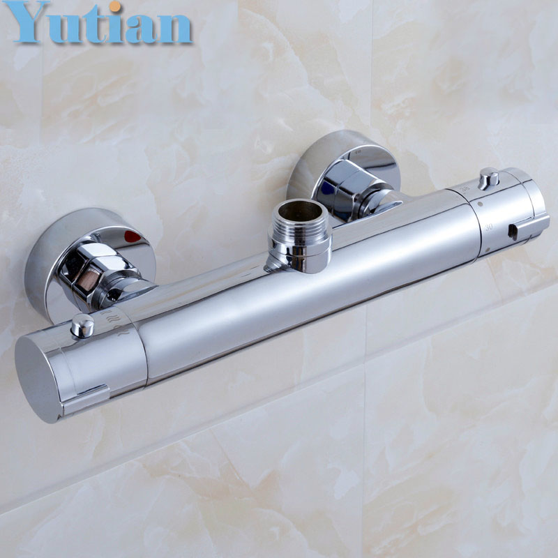 Free Shipping Wall Mounted Two Handle Thermostatic Shower Faucet Thermostatic Mixer , Shower Taps Chrome Finish,YT-5311-A whole set wall mounted two handle chrome finish mixing valve thermostatic shower mixer faucet bathroom taps