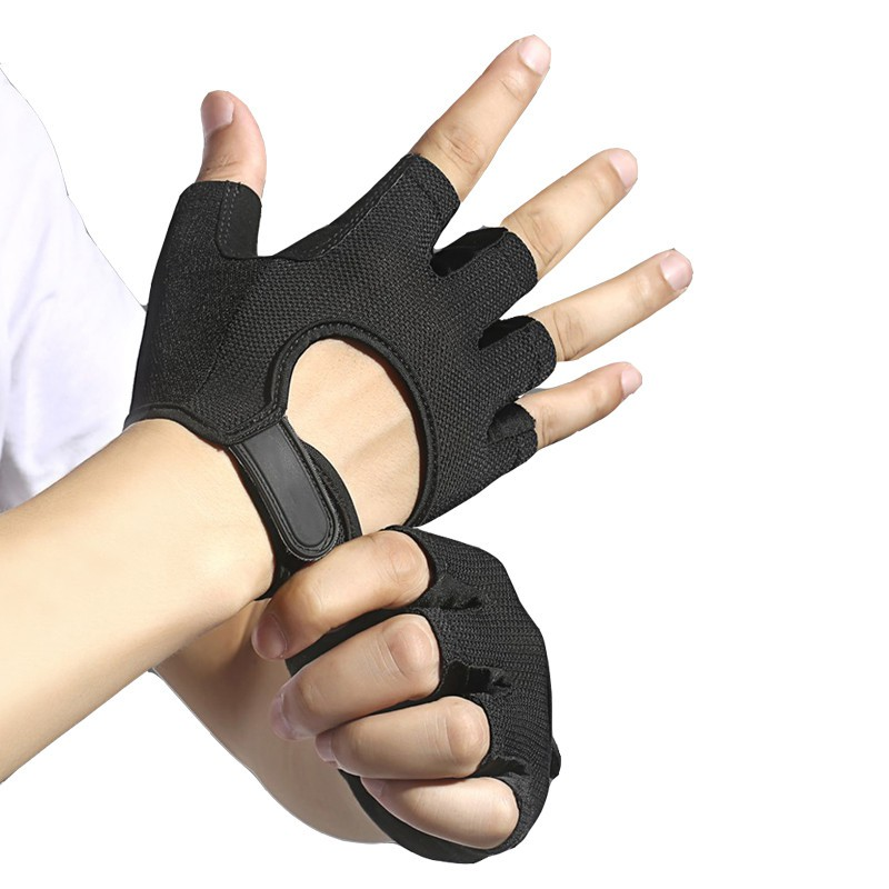 NEW REAL LEATHER PADDED CYCLING BODY FITNESS HALF FINGER GLOVES