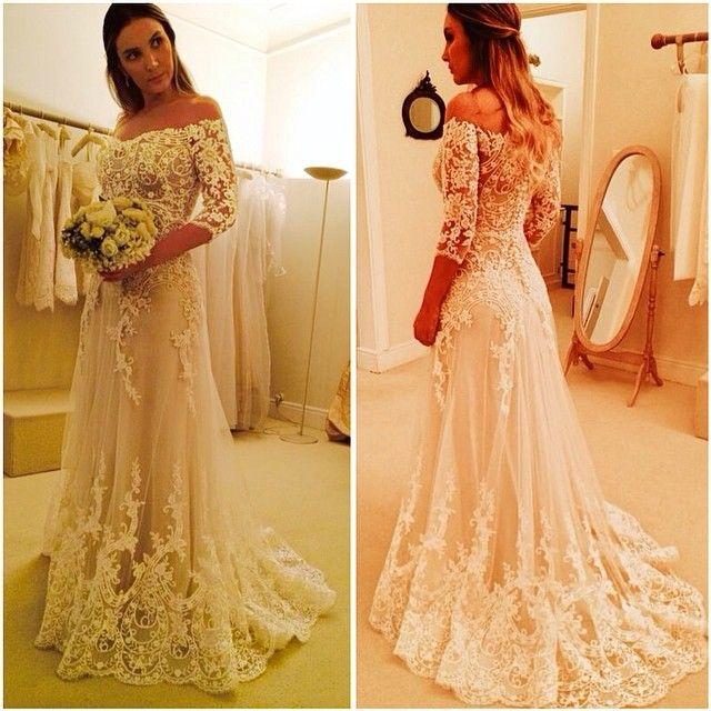 0e49fada10e4f Lebanon Vestido De Noiva A Line Ivory Lace Applique Wedding Dresses 2017  Elegant Simple Imported V Neck Bridal Gowns 2016 em Vestidos De Casamento de  ...