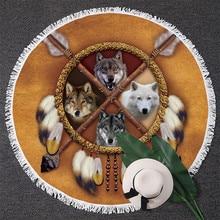 BlessLiving волки Ловец снов круглый пляжное полотенце для женщин индийский волк круг банное полотенце одеяло для животных Пикник коврик кисточка 150 см