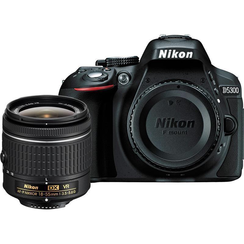 "Nikon D5300 DSLR Camera -24.2MP -1080P Video -3.2"" Vari-Angle LCD -WiFi & AF-P DX 18-55mm f/3.5-5.6G VR Lens"