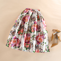 Long Midi Women Fashion Vintage High Waist Big Swing Pleated Tulle Skater Skirts Elegant Fancy Flower Print Skirt Saia Plissada