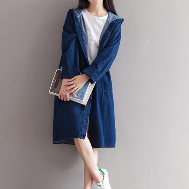 Outono Inverno Longo Denim Trincheira Casaco Solto Casual Aberto Ponto de Manga Longa Com Capuz calças de Brim Outerwear Blusão Feminino Azul Escuro