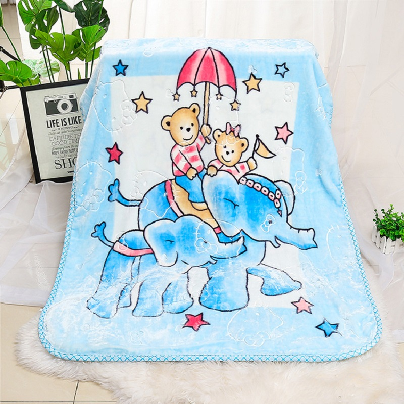 Double Layered Cartoon Elephant Bear Embossed Blanket Baby Gift Blanket Nap Blanket Nnee BlankettDouble Layered Cartoon Elephant Bear Embossed Blanket Baby Gift Blanket Nap Blanket Nnee Blankett