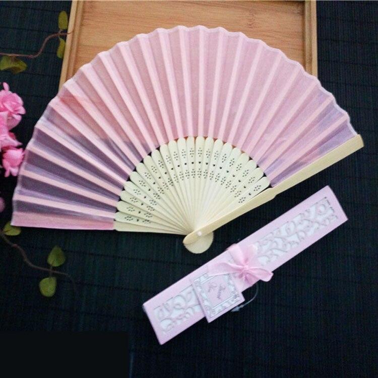 70pcs lot Personalized Luxurious Silk Fold hand Fan in Elegant Laser Cut Gift Box Party Favors