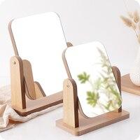 Wooden makeup mirror desktop portable mirror student dormitory thickening HD simple dressing mirror ZP3081104