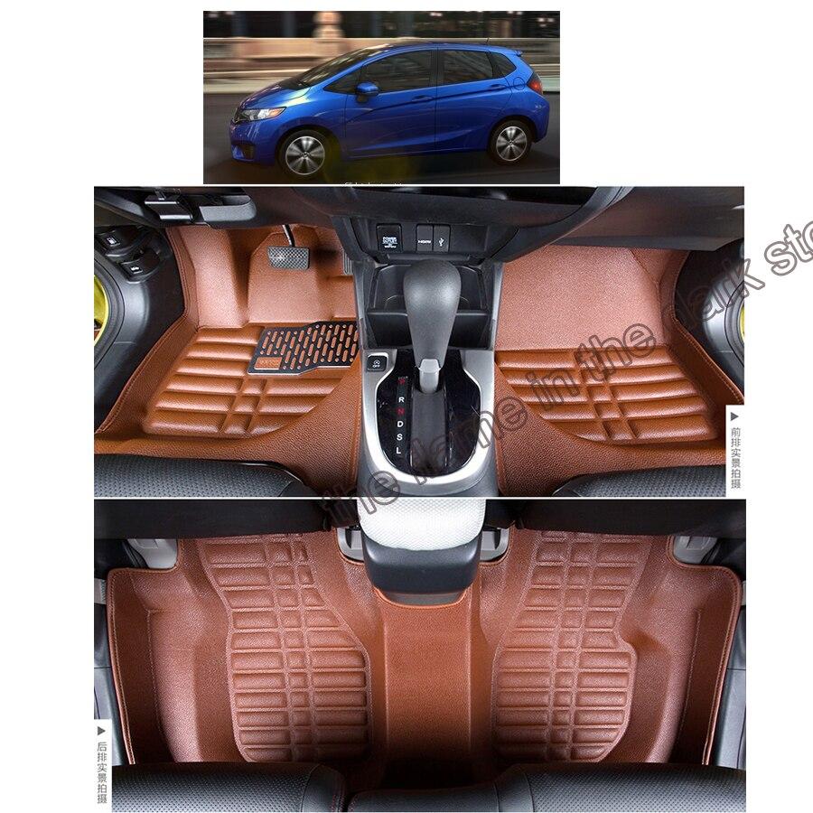 быстрая доставка волокна кожа автомобиль коврик ковер ковер для Хонда фит джаз 2013 2014 2015 2016 2017 3-го поколения