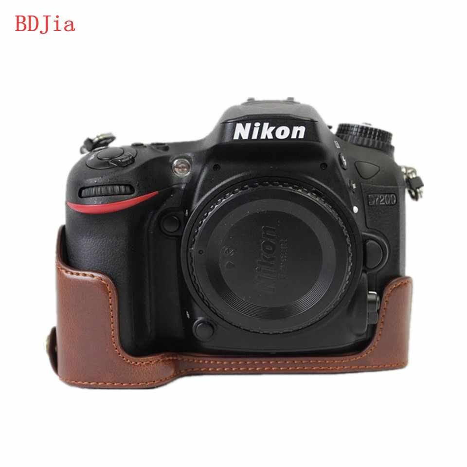 Newest Camera Bag Case For Nikon D7200 D7100 PU Leather Half Body Set Cover With Battery Opening,Free Shipping