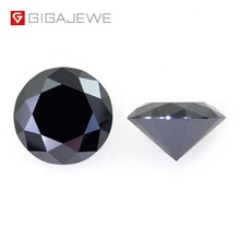 GIGAJEWE مويسانيتي الأسود 6.5 مللي متر قص مستدير حجر فضفاض معمل الماس جوهرة ذاتية الصنع صنع المجوهرات دلايات على الموضة هدية المرأة الصديقة