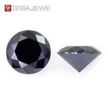 GIGAJEWE Moissanite siyah 6.5mm yuvarlak kesim gevşek taş Lab elmas DIY mücevher takı yapımı moda takılar kadın kız arkadaşı hediye