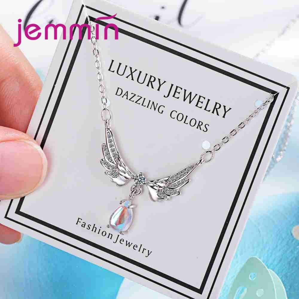 100% Real 925 Sterling Silver Wing&Drop Shape Pendant Necklace Fashion Engagement Wedding Band Fashion Female Bague