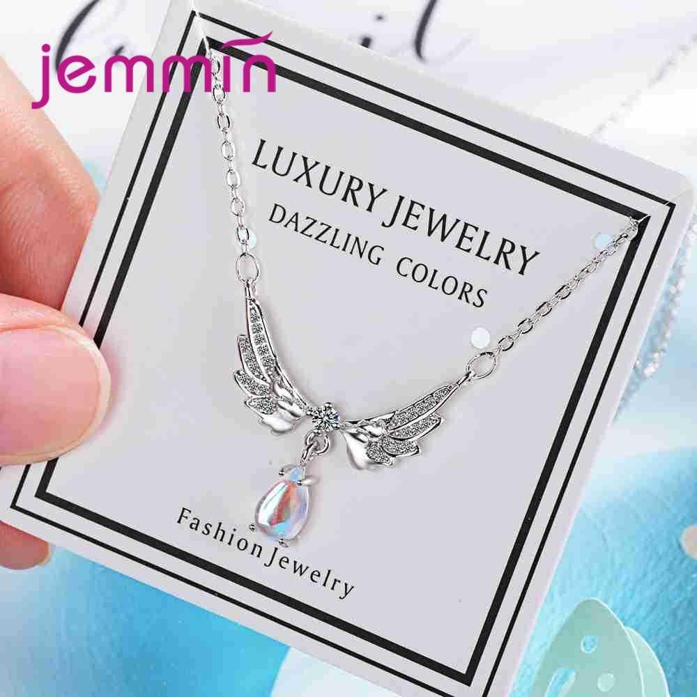 100% Real 925 Sterling Silver Wing & Drop Shape จี้สร้อยคอแฟชั่นแหวนหมั้นแฟชั่นหญิง Bague