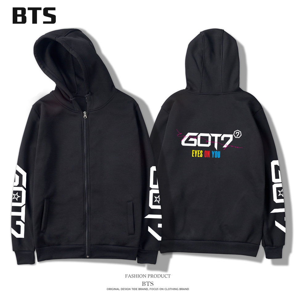 BTS 2018 GOT7 Hoodies Zipper Women/Men Popular Creative Design Sweatshirt Zipper Winter/Autumn Fashion Hoodies Zipper Plus Size