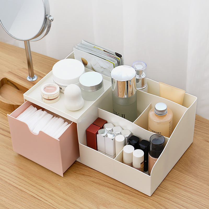 Quality Drawer Storage Boxes Plastic Multi function Dressing Desktop Cosmetics Jewelry Sundries Multi grid Finishing Organizer in Makeup Organizers from Home Garden