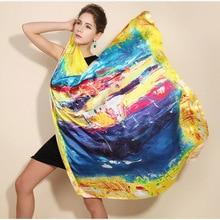 2016 winter high quality 100% real silk satin Scarf Shawl wrap women female fashion big square style pattern Scarves  105x105CM