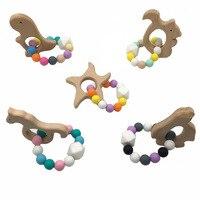 Jouets en bois de hêtre pour animaux   Perles de qualité alimentaire  anneau de dentition en Silicone  jouets pour bébé  cadeaux de réception-cadeau de dentition  brastelettes