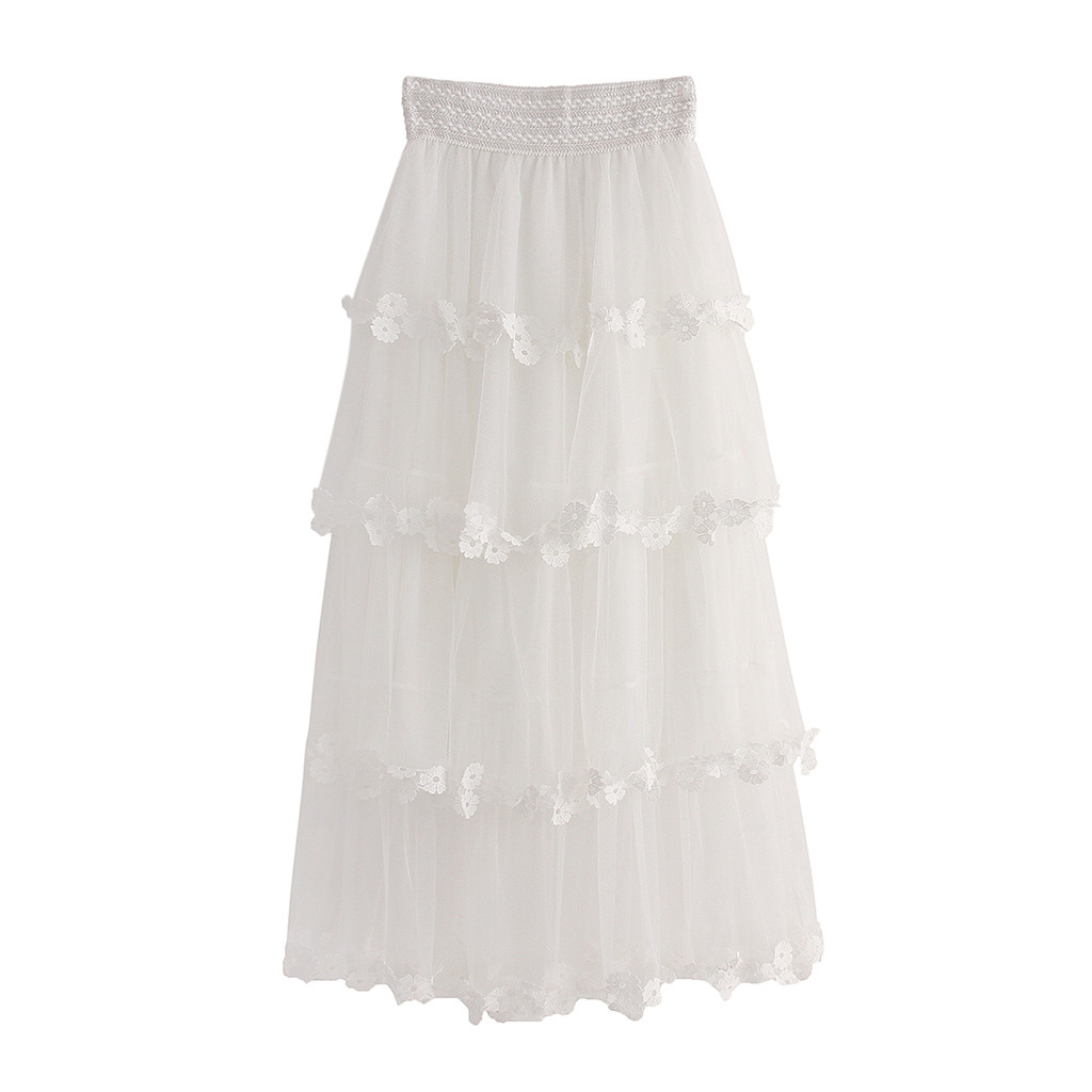 KLV 2020 summer new women's high waist ruffled mesh tutu skirt pure tulle pleated long skirt party free shipping D4