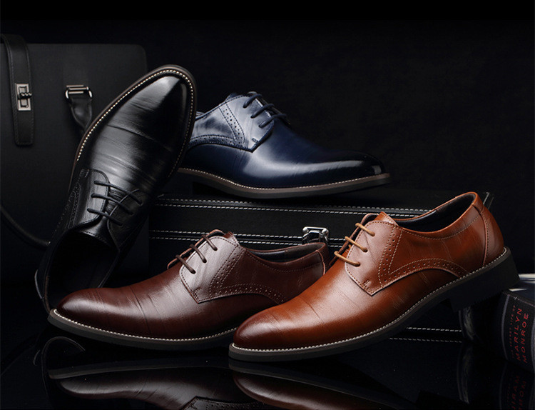 Merkmak Big Size 37-48 Oxfords Leather Men Shoes Fashion Casual Pointed Top Formal Business Male Wedding Dress Flats Wholesales 6