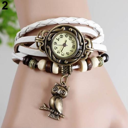 Sanwood Women Retro Braided Faux Leather Bracelet Owl Decor Beaded Quartz Wrist Watch