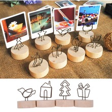 Creative Round Wooden Iron Photo Clip Memo Name Card Pendant Furnishing Articles Picture Frame(China)