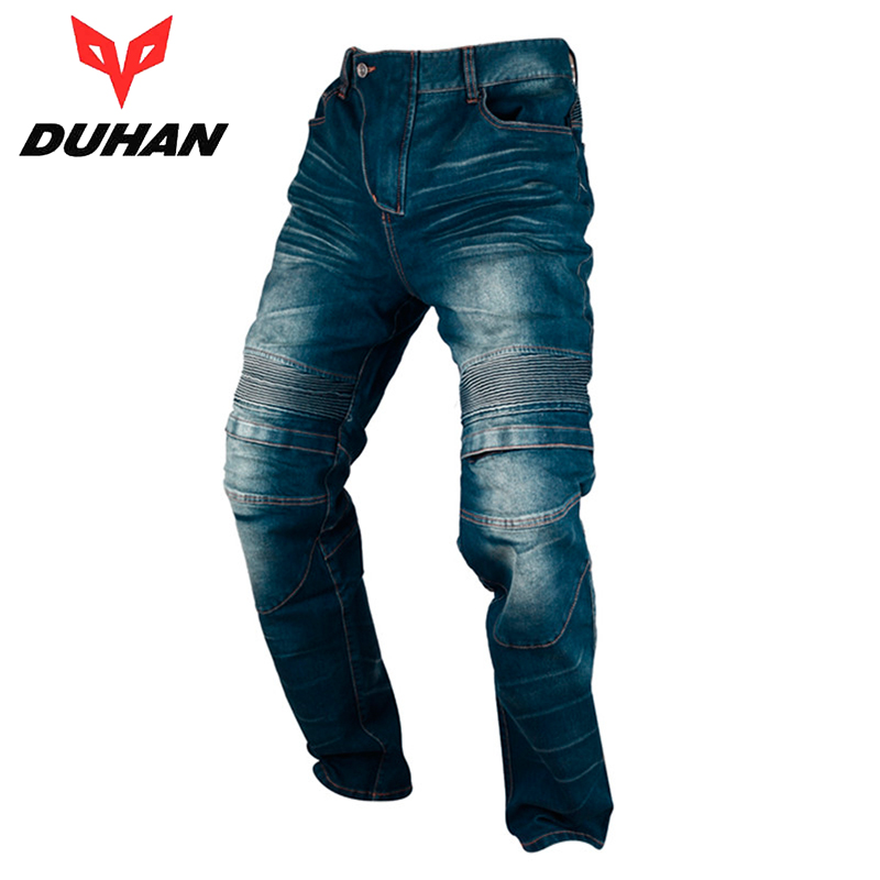 DUHAN Men's Motorbike Motocross Off-Road Knee Protective Moto Jeans Trousers Windproof Motorcycle Racing Jeans Casual Pants