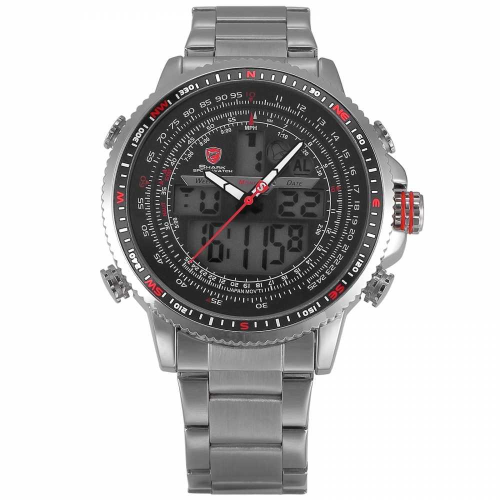 23910604eceb Winghead SHARK Sport Watch Luxury Silver LCD Analog Date Alarm Stainless  Steel Quartz Running Clock Men