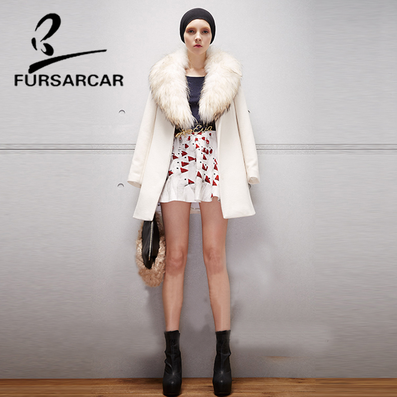 FURSARCAR Luxury New Women Real Fur Coat Hot Fashion Woolen Fur Jacket With Raccoon Fur Collar Winter High Quality Fur Coat