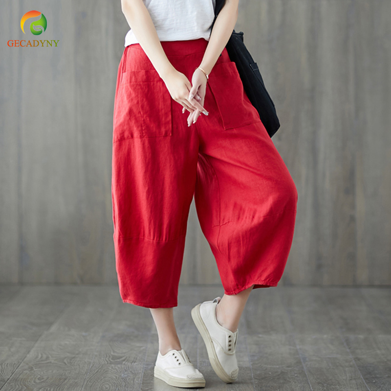 2019 Women's Cotton Linen   Pants   Bloom   Pants     Capris   Female Summer Elastic Waist Palazzo Pantalon Femme Wide Leg Trousers