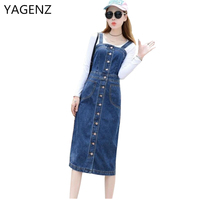 YAGENZ 2018 Spring/Summer Women Denim Sundress Blue Slim Sunspender Jeans Dress Plus size 4XL 5XL Casual Denim Dress Autumn New