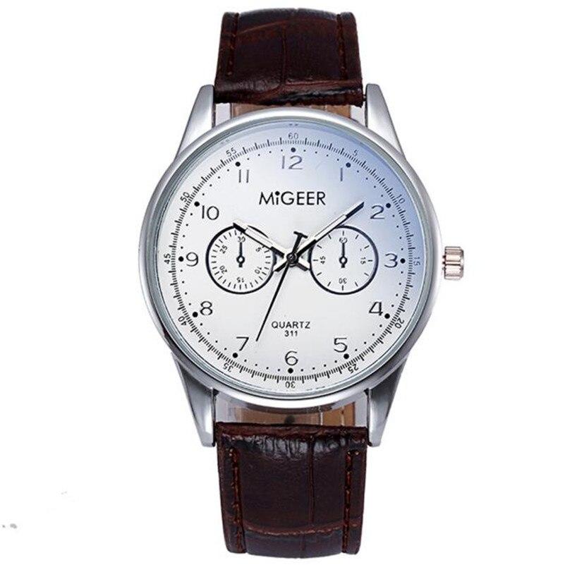 MIGEER MG-311 hombre reloj de marca de moda de lujo de cuero de - Relojes para hombres