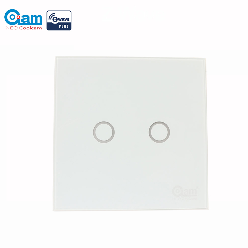 NEO COOLCAM NAS-SC01Z Z-wave Plus Wall Light Switch 2CH Gang Home Automation Z Wave Wireless Smart Remote Control Light Switch plastic