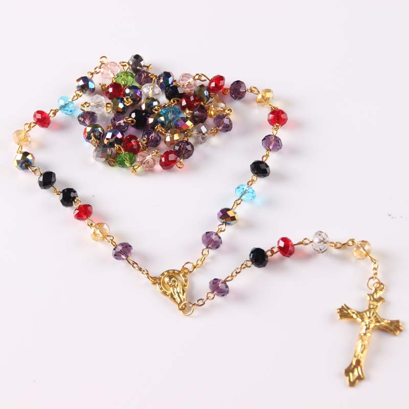 yiwu factory handmade superb crystal beads rosary with cross  colorful rosary