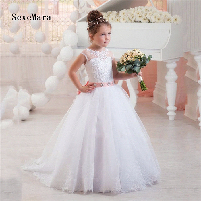 White Lace   Flower     Girl     Dress   for Wedding Applique Sash   Girls   Graduation Gown Communion   Dress   Ball Gown Custom Made Size