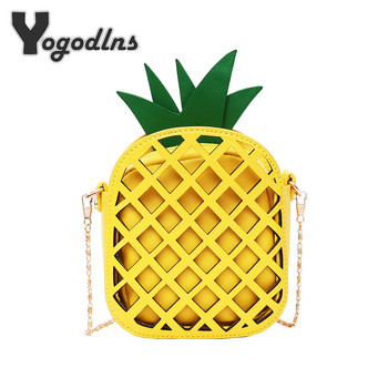 2018 Brand Leather Cute Handbag for Women Lovely Pineapple Bag with Chain Hollow Out Mini Women's Fruit Handbags purse for girls
