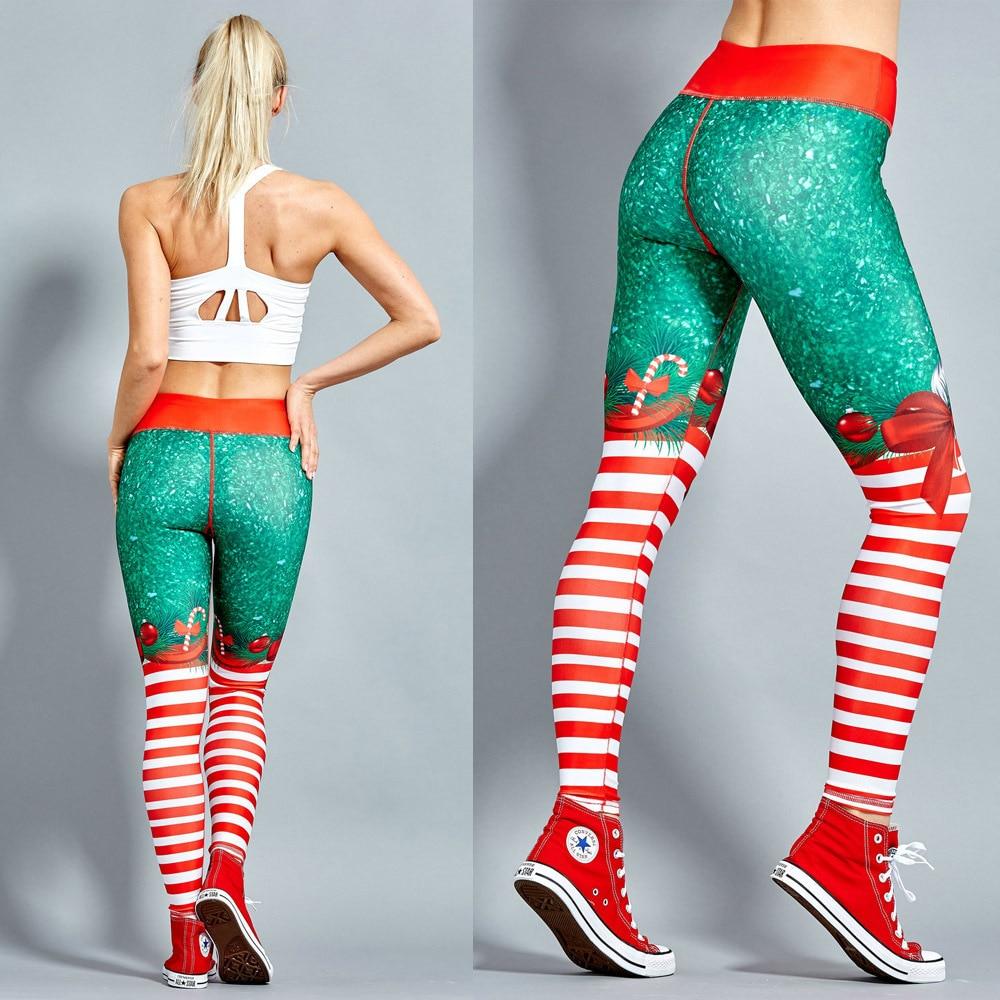2018 weihnachten Druck Leggings Setzen Hüfte Elastische Hohe Taille Legging Atmungs Frohe Weihnachten Hosen