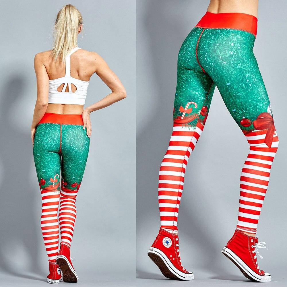 Navidad de 2018 de impresión polainas poner cadera elástico cintura alta Legging transpirable Feliz Navidad Pantalones