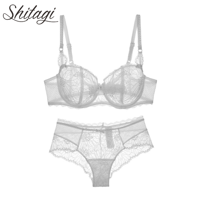 94c191fdc3 Shitagi Sexy Transparent Bra Set France Lolita Lace Bralette Set Ultrathin  See through Lingerie Set Sheer Underwear woman